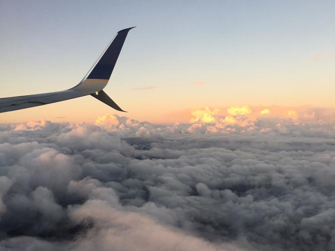 aeroplane at sunset